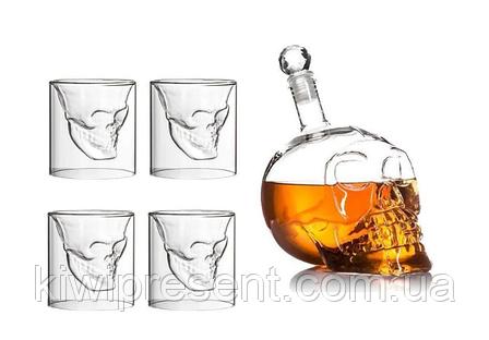 Подарочный набор Графин в форме черепа 0,75 л и 4 стакана Череп, фото 2