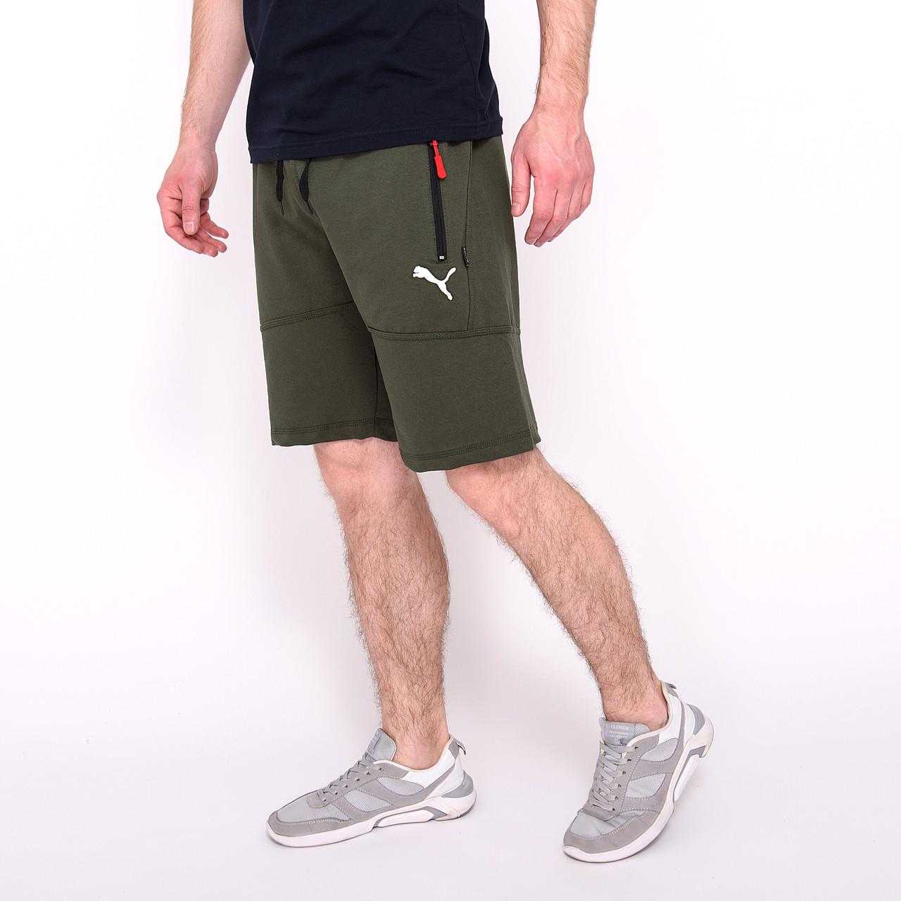 Чоловічі трикотажні шорти PUMA, кольору хакі.