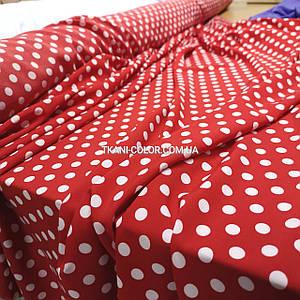 Ткань супер софт принт белый горох 1см на красном