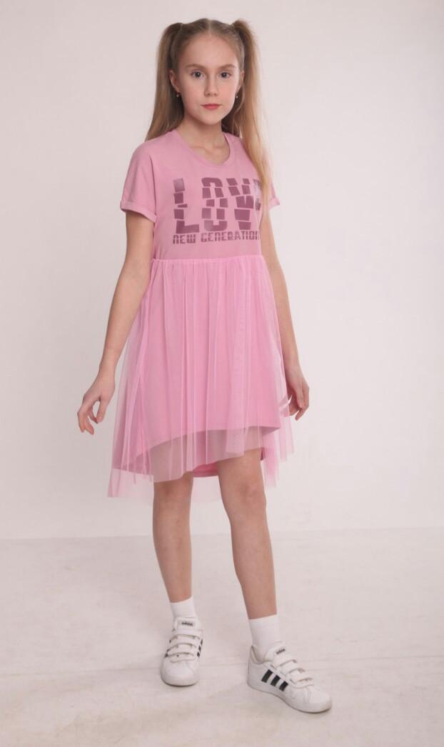 Асимметричное платье для девочки с фатиновой юбкой 98-164 р