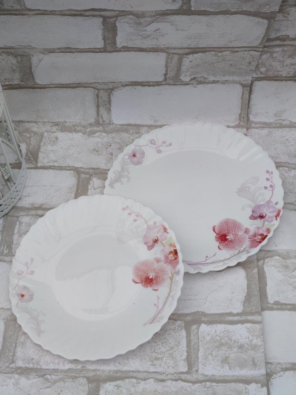 Тарілка закусочна із склокераміки декорована орхідеєю, діаметр 19 см(продаж лише упаковками, 6шт/уп)