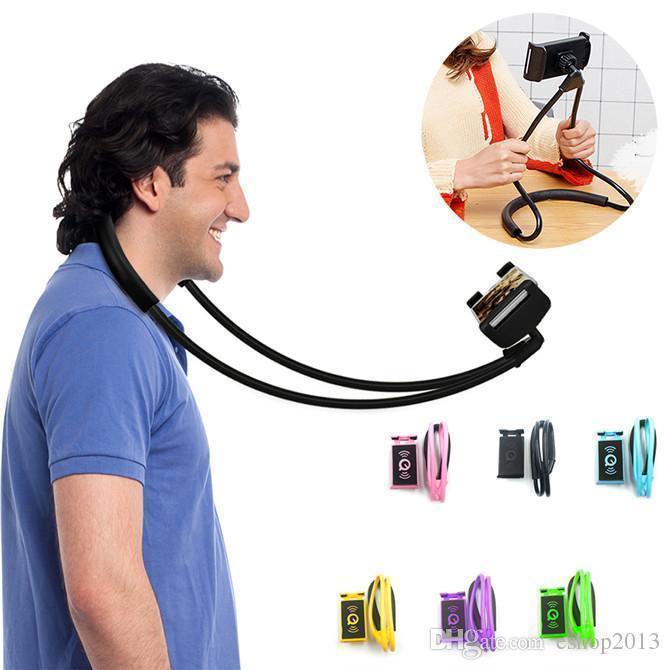 Держатель для телефона на шею 360 градусов вращения гибкий селфи БЕЛЫЙ ave