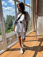Женский белый костюм футболка с велосипедками и поясом