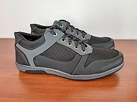 Кросівки чоловічі літні чорні сітка прошиті зручні ( код 7544 ), фото 1