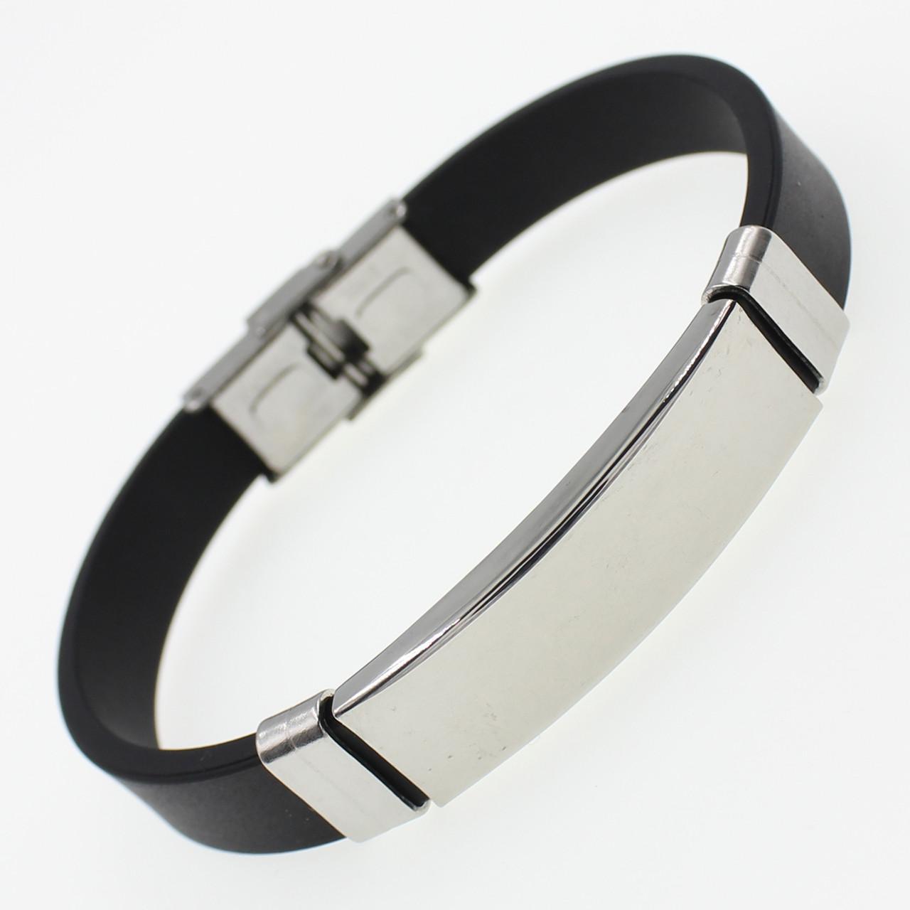 Мужской плетеный браслет с элементами Stainless Steel