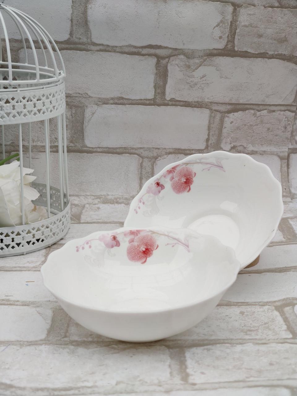 Салатник із склокераміки, декорований рожевою орхідеєю Діаметр 15,2 см (продаж лише упаковками, 6шт/уп)