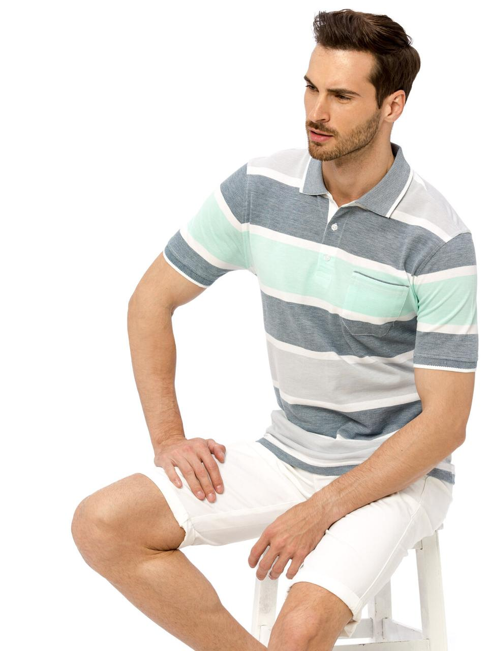 Белое мужское поло LC Waikiki / ЛС Вайкики в мятную и синюю полоску, с карманом на груди