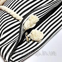 Пляжная сумка чёрная полоса опт, фото 2