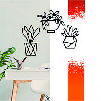 """Декоративная деревянная картина абстрактная модульная полигональная Панно """"Flowerpots / Вазоны"""""""