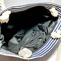 Пляжная сумка тёмно синяя полоса опт и розница, фото 3