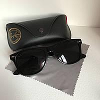 Солнцезащитные очки Полароид Ray Ban Wayfarer черный глянец комплект
