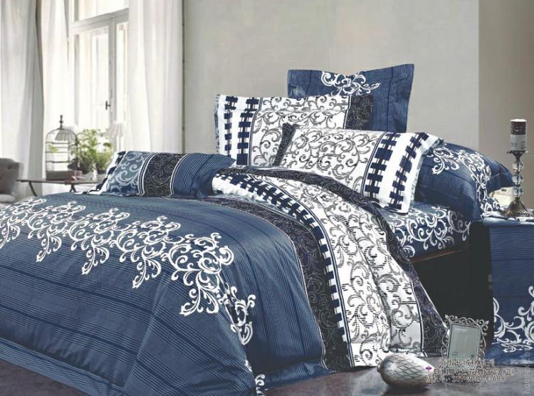 Двоспальний Комплект постільної білизни Viluta Ранфорс 8630 синій