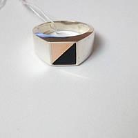 Кольцо-перстень из серебра с золотом и обсидианом Корнет