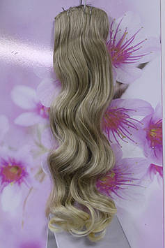 Искусственные волосы на заколках термоволокно волнистые темно золотистый с блонд