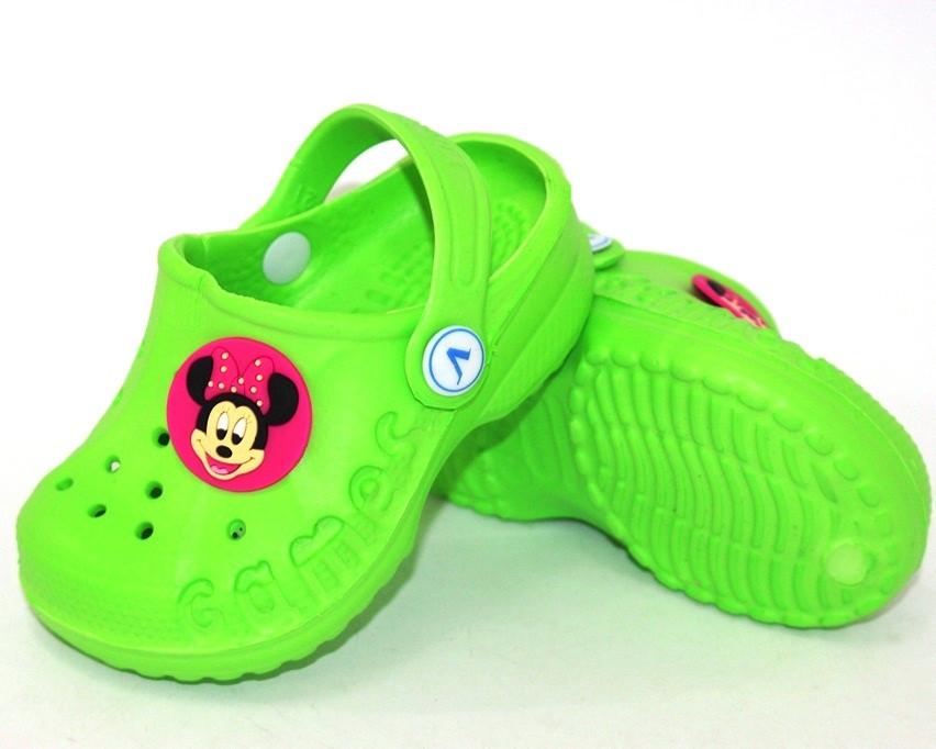 Зеленые детские кроксы, шлепанцы детские