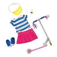 Our Generation Набор одежды для кукол Deluxe с самокатом и аксессуарами