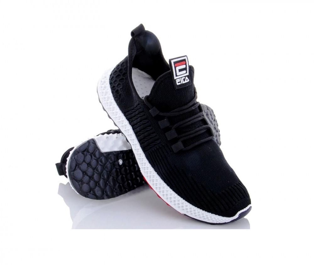Мужские кроссовки черные с белой подошвой