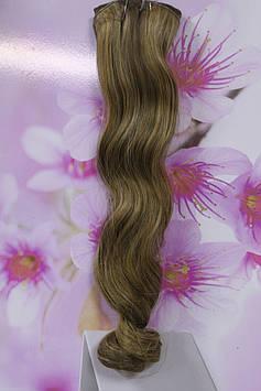Волосы искусственные на заколках термоволокно волнистые русый с мелированием