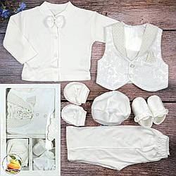 Нарядный крестильный набор со светлой жилеткой для малыша Размер: 0-3 месяца (20336)