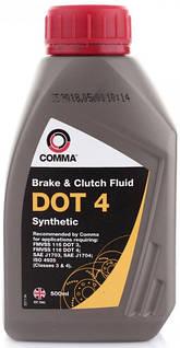 Тормозная жидкость DOT 4, 0.5л COMMA DOT4SYNT500ML