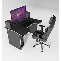 Геймерский игровой компьютерный стол ZEUS IGROK-1 черный/белый