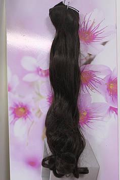 Волосы искусственные на заколках термоволокно волнистые коричневый