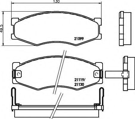 Колодки тормозные дисковые, комплект Hella 8DB355005621