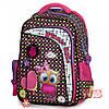 Рюкзак школьный ортопедический в 2-5 класс для девочек черно-розовый с Совенком Winner stile 194-2 29х15х40 см