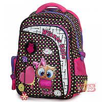 Рюкзак школьный ортопедический в 2-5 класс для девочек черно-розовый с Совенком Winner stile 194-2 29х15х40 см, фото 1