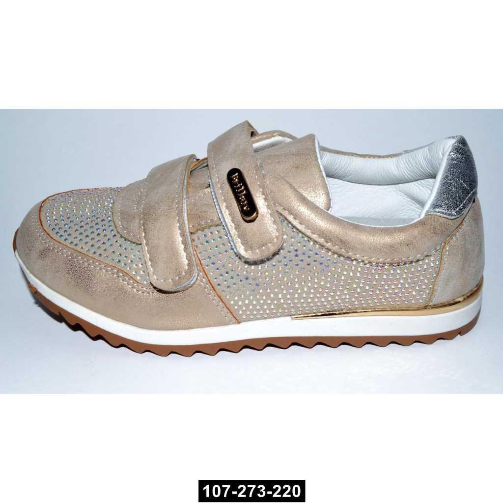 Кроссовки для девочки, 31 размер / 19.7 см, кожаная стелька, супинатор, мокасины, 107-273-220