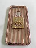 Чехол для iphone 6/6S силиконовый прозрачный с полосками под металл, с колечком, со значком доллара COV-034 ave, фото 2
