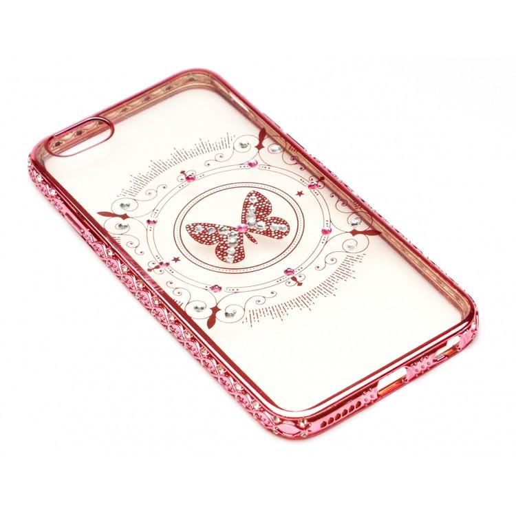 Чехол на iPhone 6/6s силиконовый прозрачный, бабочка с камушками, с бампером под металл в камушках COV-059 ave