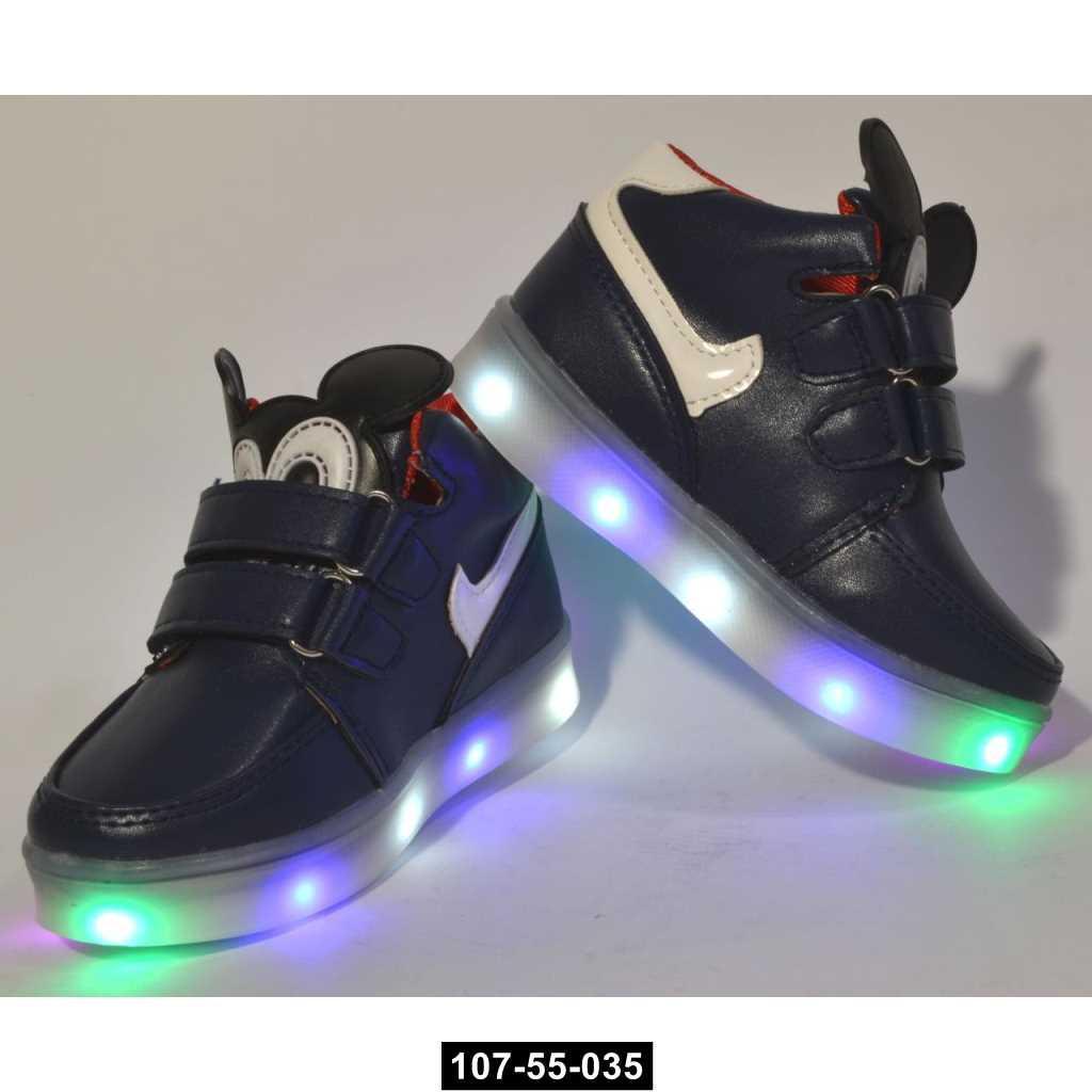 Высокие кроссовоки с мигалками для малышей, 22 размер / 13.9 см, ботиночки, 107-55-035