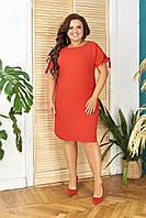 Летнее однотонное  платье арт. N176  БАТАЛ цвет красный 42-44