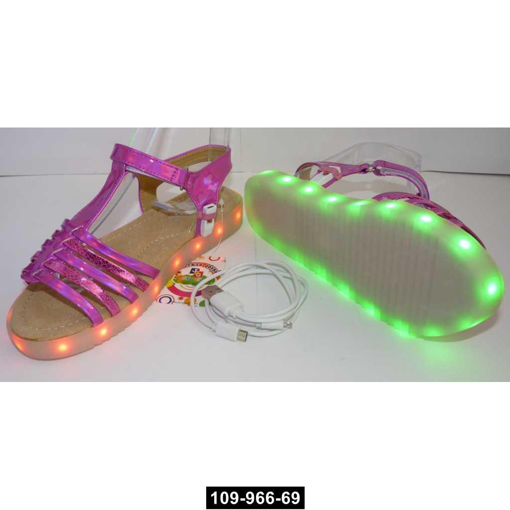 Светящиеся босоножки для девочки, 24 размер / 15 см, подзарядка, 11 режимов LED подсветки, 109-966-69