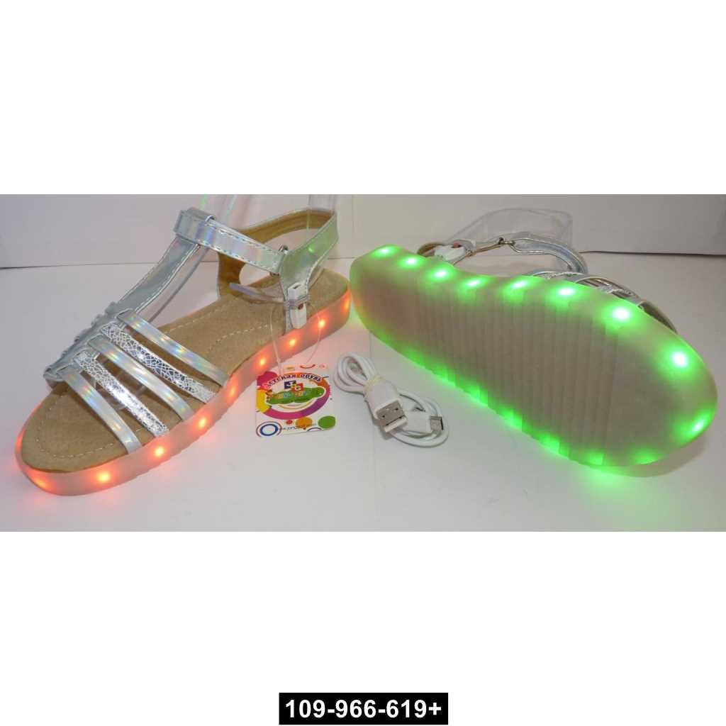 Светящиеся босоножки для девочки, 31 размер, подзарядка, 11 режимов LED подсветки, 109-966-619+