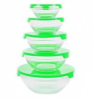 Набор емкостей для хранения продуктов (5 шт), зеленые крышки