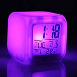 Светящиеся часы будильник термометр ночник хамелеон ave, фото 3
