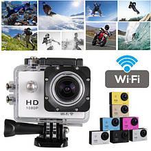 Экшн камера A7 FullHD + аквабокс + Регистратор Полный компект+крепление шлем СЕРЕБРО ave