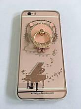 Чехол для iphone 6/6S силиконовый прозрачный с колечком, с мишкой и с роялем COV-066 ave