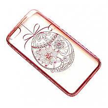 Чехол на iPhone 6/6s силиконовый прозрачный, яйцо с камушками, с бампером под металл COV-037 ave