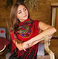 Українська хустка (100х100 см, червона), фото 1