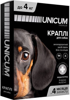 Капли UNICUM premium от блох и клещей для собак весом до 4 кг