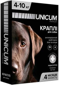 Капли UNICUM premium от блох и клещей для собак весом 4-10 кг