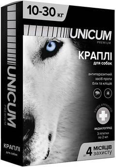 Капли UNICUM premium от блох и клещей для собак весом 10-30 кг