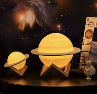 3D Ночник планета, Лунная лампа 16 цветов на подставке USB, Светильник для детей
