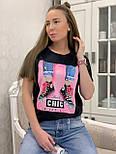 """Жіноча стильна чорна і біла футболка з паєтками """"Кеди"""", фото 4"""