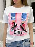 """Жіноча стильна чорна і біла футболка з паєтками """"Кеди"""", фото 8"""