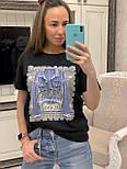 """Женская стильная черная футболка с пайетками """"Джинсовка"""", фото 2"""