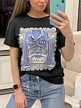 """Женская стильная черная футболка с пайетками """"Джинсовка"""", фото 3"""